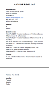 CV Antoine REVELLAT - job d'été